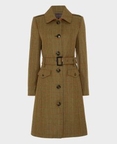 Belted Gatsby Coat Acorn Blue | Really Wild Clothing | Tweed Coat | Front Image