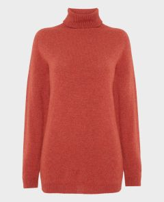 Heritage Cashmere Roll Neck in Rust Marl | Really Wild Clothing | Front Image
