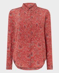 Pin Tuck Front Shirt in Brick Red Sage Paisley | Really Wild Clothing | Liberty Shirt | Front Image