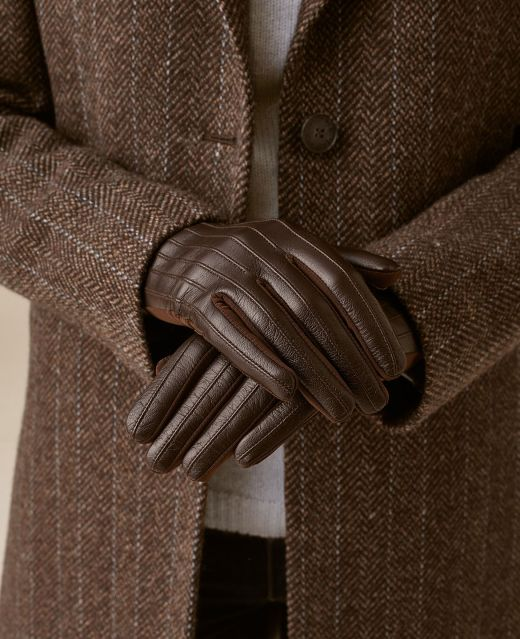 Really Wild Ribbed Leather Gloves Different Angle 1