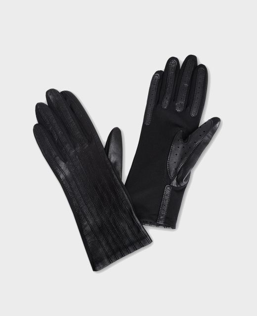 Really Wild Ribbed Leather Gloves  Main Image