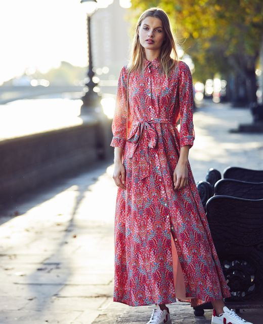 Really Wild Long Flared Shirt Dress Different Angle 1