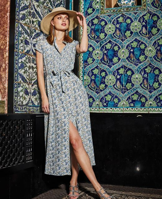 Really Wild Pin Tuck Dress with Cap Sleeve Different Angle 1
