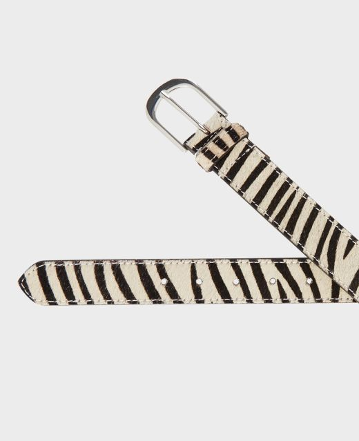 Really Wild Zebra Leather Belt Different Angle 1