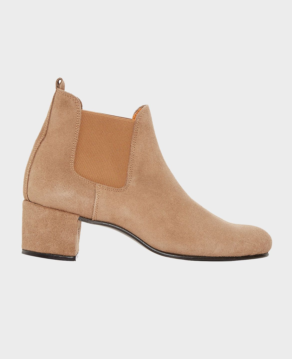Heeled Ankle Boots in Sand Suede